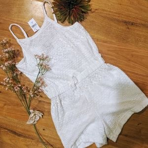 New girls gap white lace shorts romper 6 7